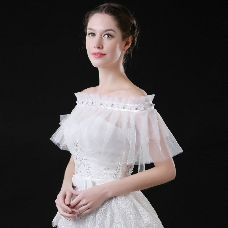 Lace Wedding Jackets Shawls 2018 for Evening Party White Ivory Bridal Bolero for Spring Summer Wedding Accessories Free Shipping