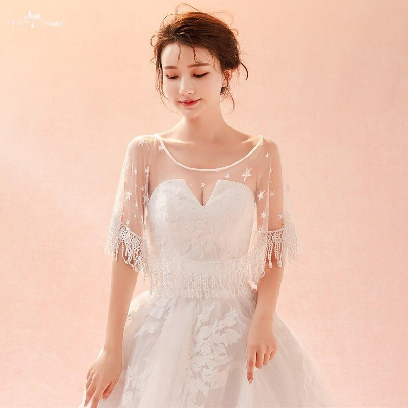 LZP284 Real Pictures Wedding Accessories Star Shape With Tassel Bridal Bolero Ivory Tulle Woman Wedding Shawl
