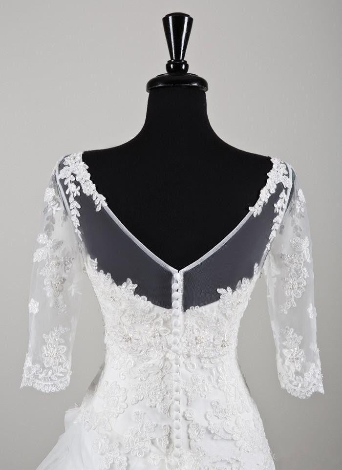 Simple Elegant Wedding Jacket Lace Appliques 3/4 Sleeves Bridal Bolero Wrap Shrugs Accessories 2019