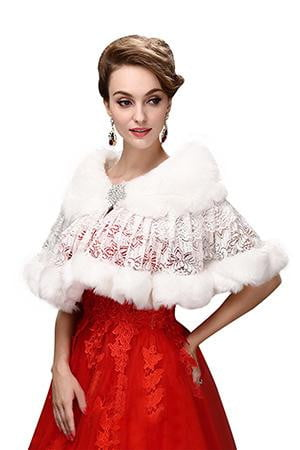 2019 Cause White Bridal Bolero Jackets Winter Woman Party Coat Faux Fur Wrap Cape Lace Appliqued Wedding Accessories With Brooch