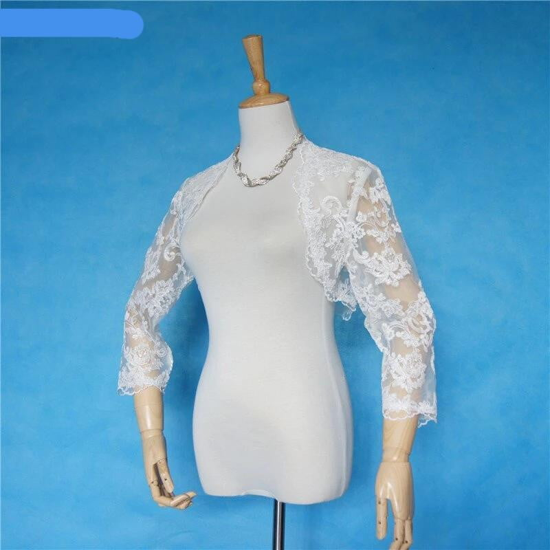 2018 New High Quality Lace Jacket 3/4 Sleeves Wedding Bridal Boleros Shrug Wrap Coat