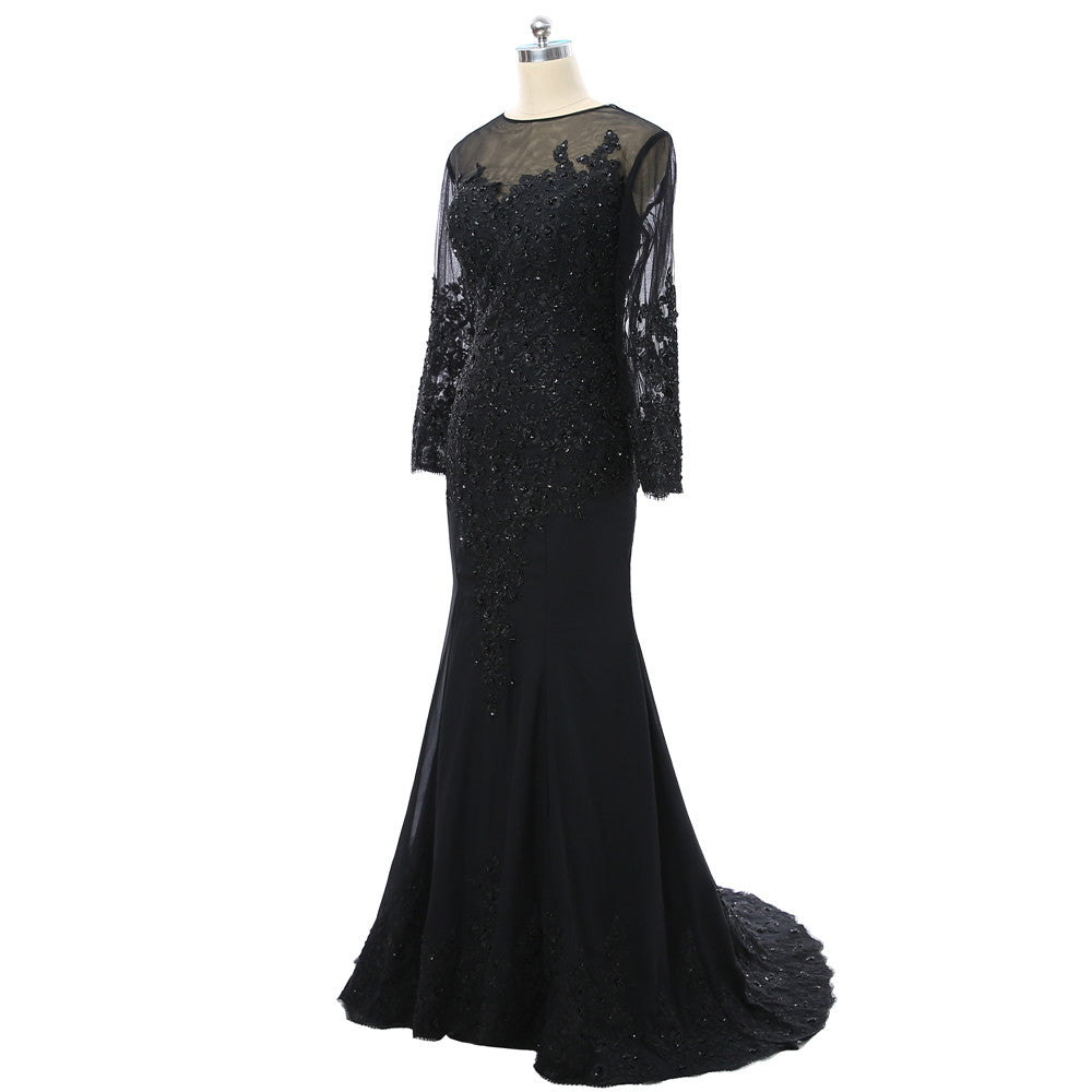 Black 2019 Mother Of The Bride Dresses Mermaid Long Sleeves Chiffon Lace Beaded See Through Women Prom Gown Evening Dresses