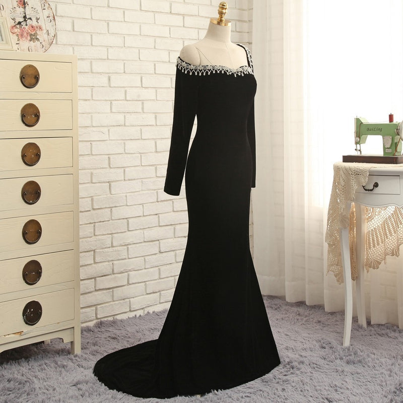 New Black 2019 Prom Dresses Mermaid Long Sleeves Velvet Beaded Backless Long Prom Gown Evening Dresses