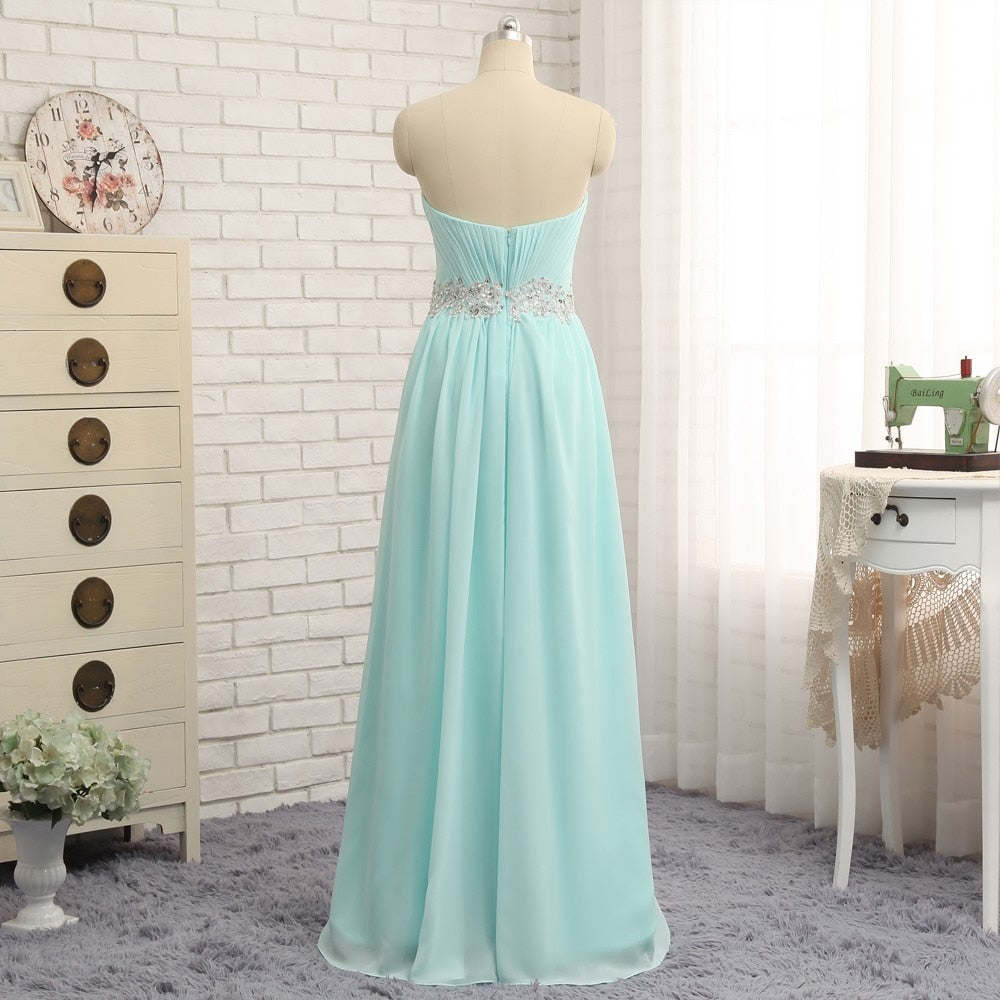 New Turquoise Evening Dresses 2019 A-line Strapless Chiffon Beaded Backless Elegant Long Evening Gown Prom Dress
