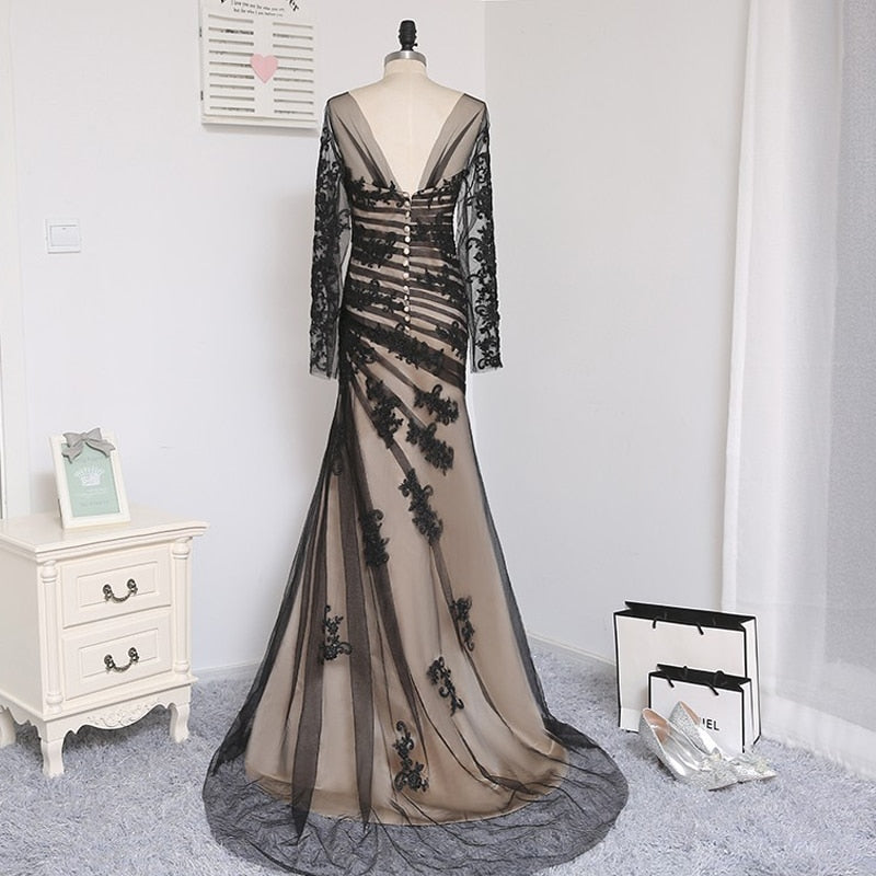 Black Elegant Mother Of The Bride Dresses 2019 Mermaid Tulle Satin Appliques Lace Backless Long Evening Gown Prom Mother Dresses