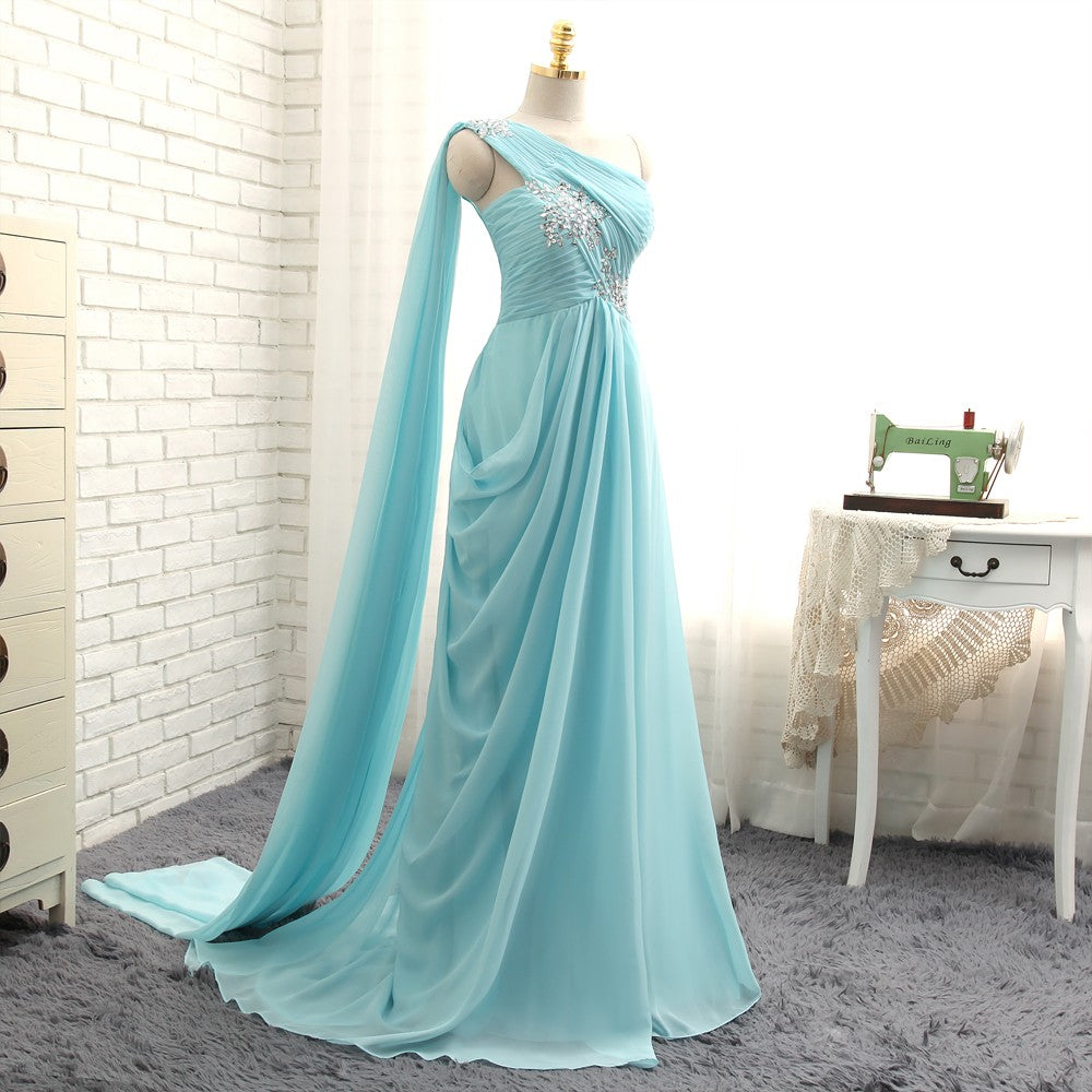 New Turquoise Evening Dresses 2019 A-line One-shoulder Chiffon Beaded Crystals Long Evening Gown Prom Dress