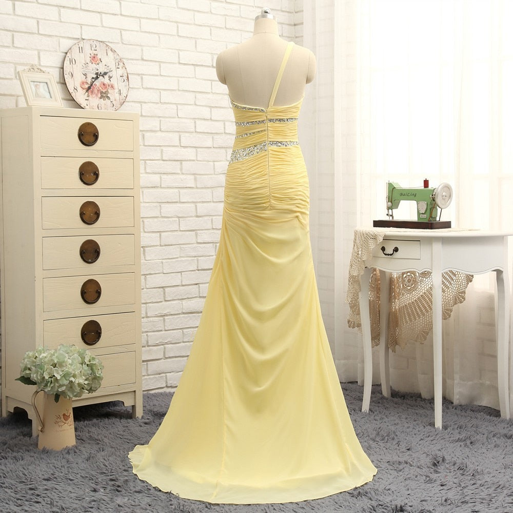 New Evening Dresses 2020 A line One shoulder Yellow Chiffon Beaded Long Evening Gown