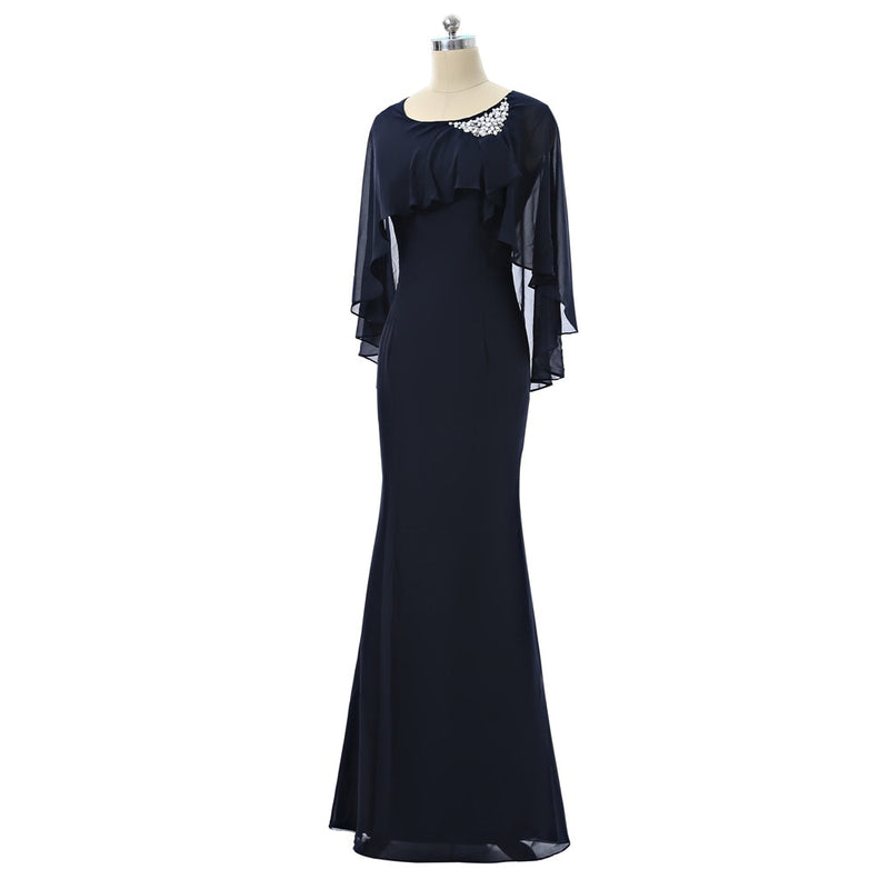 Navy Blue Mother Of The Bride Dresses 2019 Mermaid Scoop Cap Sleeves Chiffon Beaded Women Long Evening Gown Mother Dresses
