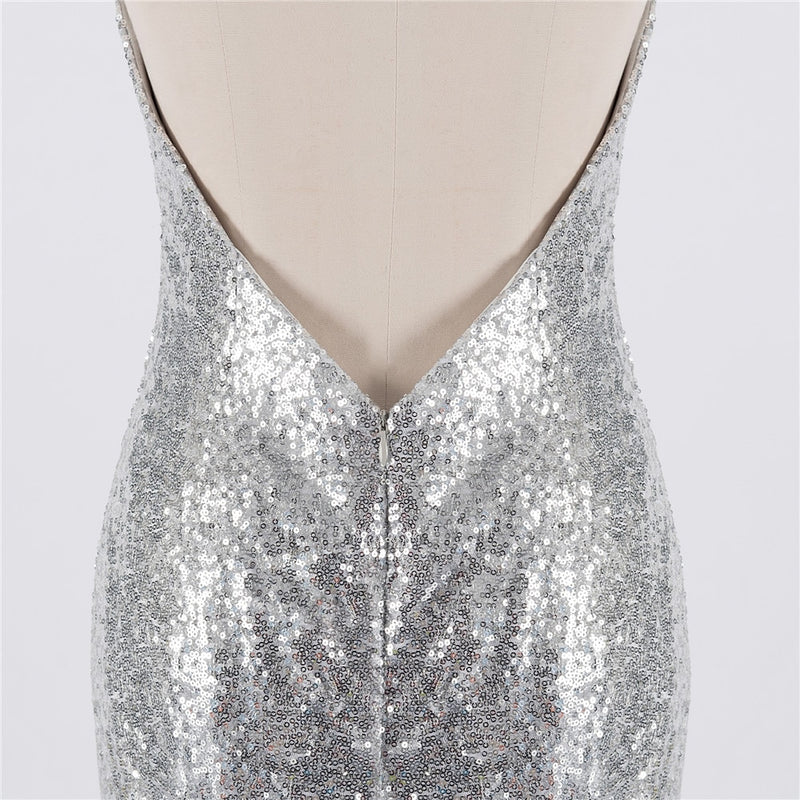 Silver Evening Dresses 2019 Mermaid Halter Sequins Sparkle Sexy Backless Women Long Evening Gown Prom Dresses