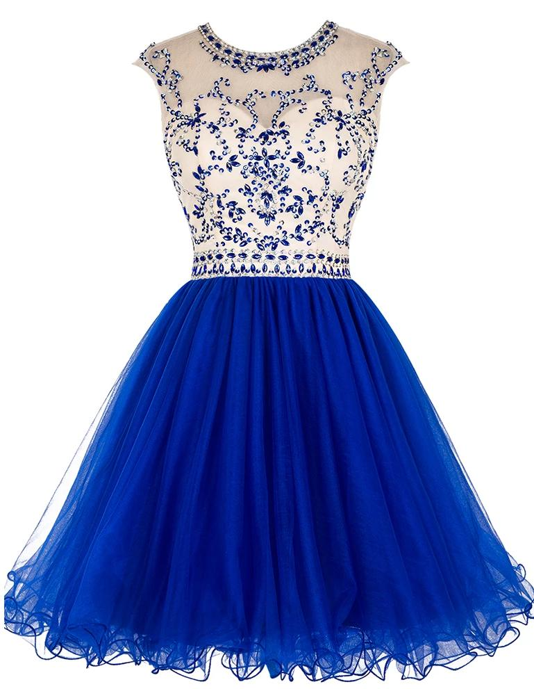 Royal Blue Short Homecoming Dress 2019 Crystal Bodice Ruffle Skirt Colorful Mini Gown Girl Party Prom Graduation Dress