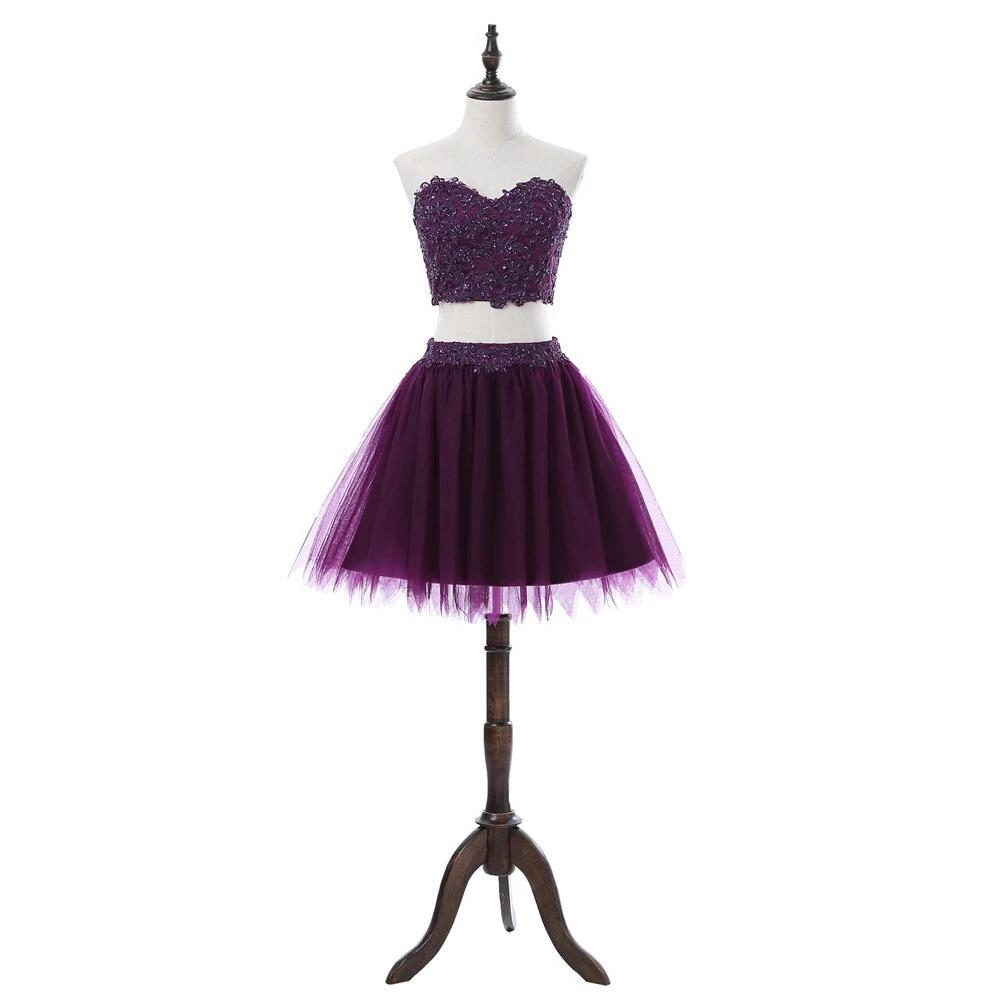 Purple 2019 Homecoming Dresses A-line Sweetheart Short Mini Tulle Lace Beaded Two Pieces Elegant Cocktail Dresses