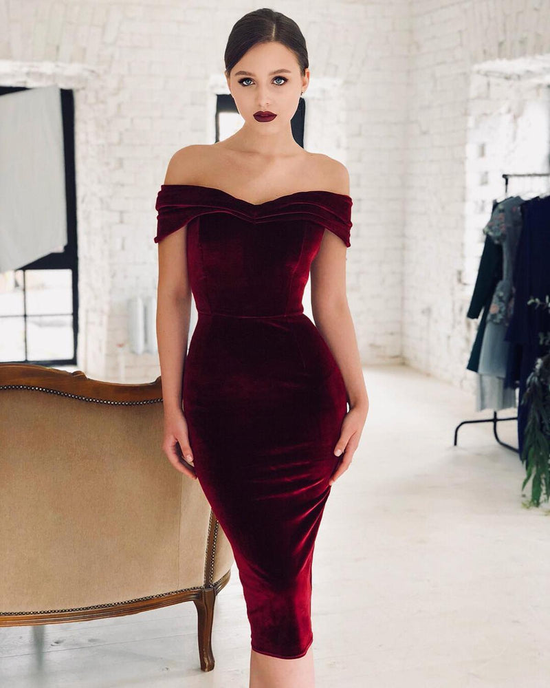 Burgundy Off shoulder Short Cocktail Dresses vestidos coctel 2019 semi formal dress Blue Party Women Sexy Prom Robe