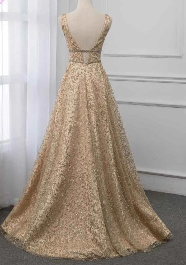2020 Shining Long Prom Dress Formal Gown Deep V Neck Sleeveless Dresses