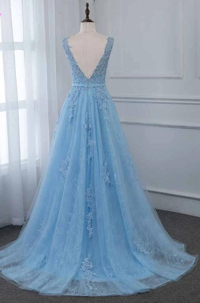 Elegant Blue Long Prom Dresses 2020 Lace Tulle Beaded Evening Gown V Back