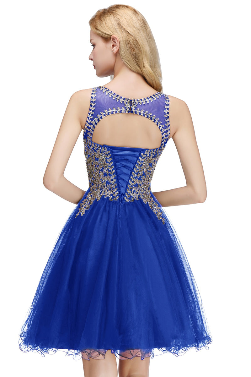 Robe Cocktail Dresses 2020 sexy Royal Blue Tulle Cocktail Party Dress Sleeveless Short Formal Dress coctail dress