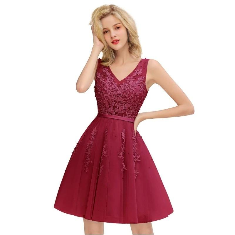 Burgundy robe Cocktail Dresses 2019 A line Sexy Short Cocktail Party Dress Sleeveless Formal Dress Applique Coctail Vestidos