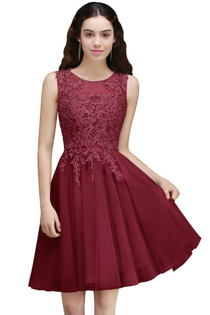Robe Cocktail Dresses 2019 Short Cocktail Party Dress A line Coktail Dress Scoop Neck Sleeveless Formal Prom vestidos coctel
