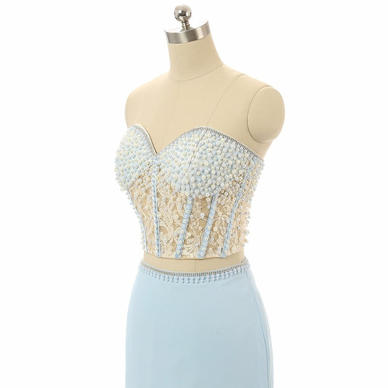 Two Piece Prom Dress Long 2020 Blue Mermaid Sweetheart Beaded Appliques Split Chiffon Evening Gown Backless Prom Dress Prom Gown