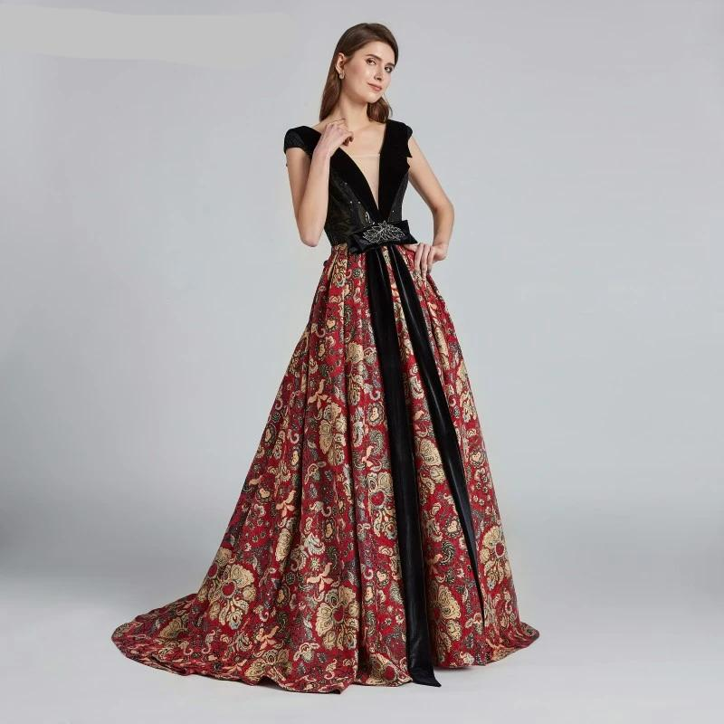 Pattern Beautiful Evening Dresses 2020 Robe De Soiree Saudi Arabian Dubai Caftan Lace up Sexy Elegant Formal Prom Party Gowns