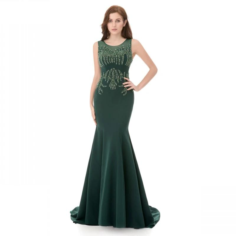 2020 Dark Green Mermaid Evening Dresses For Women Wear with Beaded Crystal Mermaid Jersey Runway Fashion Sexy Formal Prom Gowns