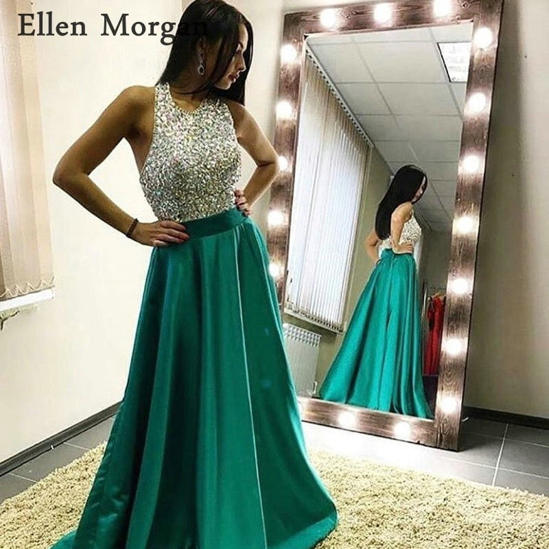 Halter Satin Sexy Long Prom Dresses 2019 Floor Length Beads Real Pictures A line Custom Made Vestido De Festa Party Gowns