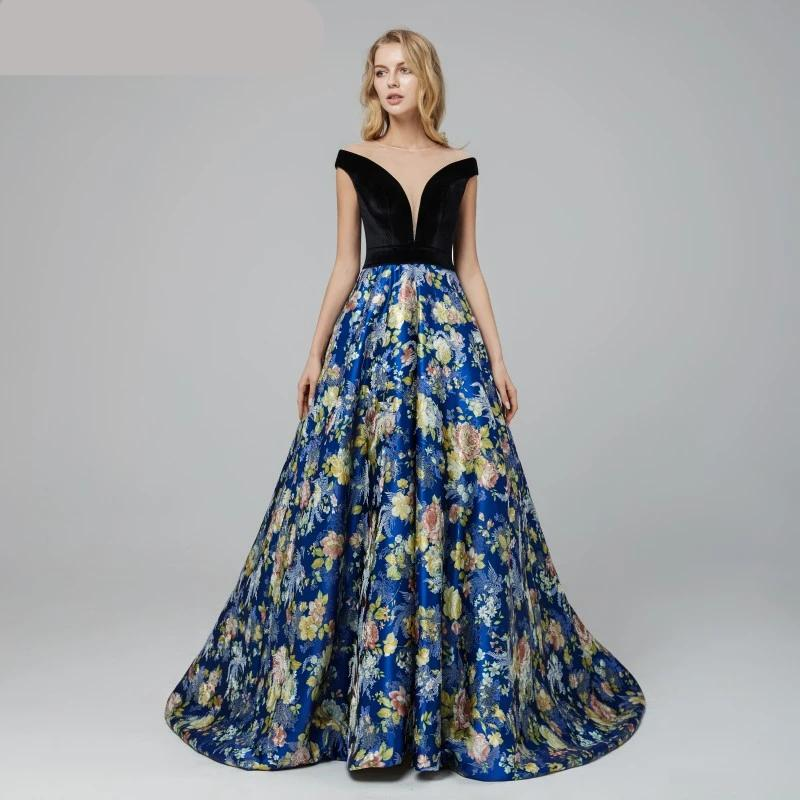 Sexy Sheer Neck Prom Dresses 2020 A line Cap Sleeves Court Train Pattern Simple Custom Made Formal Evening Party Gowns
