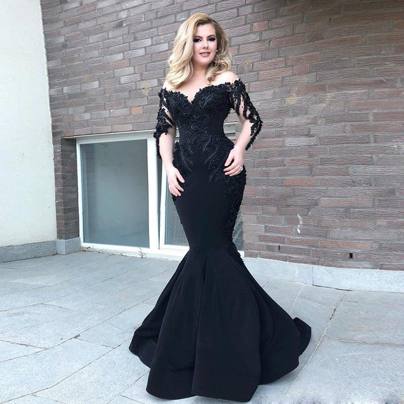 Black Mermaid Long Sleeve Mermaid Evening Dresses Beaded Saudi Arabic Sheer Neck Satin Evening Gown Sweep Train Prom Dress
