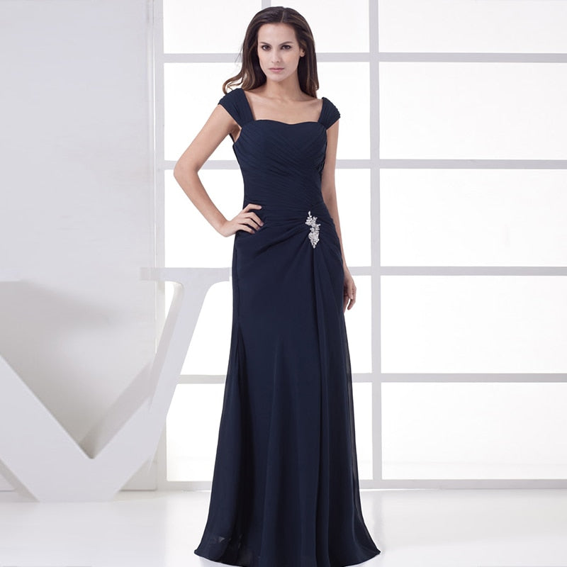 Plus Size Mother Of The Bride Dresses Navy Blue Ever Pretty A-Line Chiffon Brides Mother Long Dresses For Weddings 2020