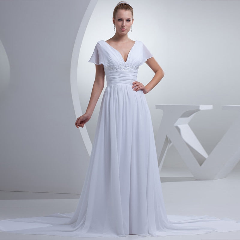 Elegant Chiffon Long V-neck A-line Evening Dress The Bride Formal Prom Dress Plus Size Mother of The Bride Dresses