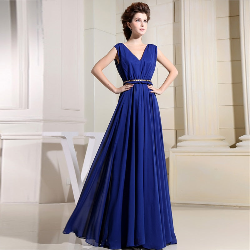Blue Prom Dresses Ever Pretty Elegant V-Neck Ruffles Chiffon Formal Party Gowns Robe De Soiree 2020 Mother Bride Dress Plus Size