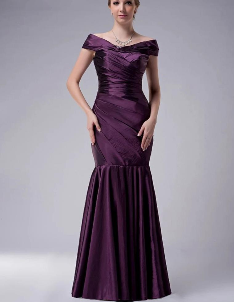 Purple 2020 Mother Of The Bride Dresses Mermaid V-neck Cap Sleeves Taffeta Plus Size Long Elegant Groom Mother Dresses Wedding