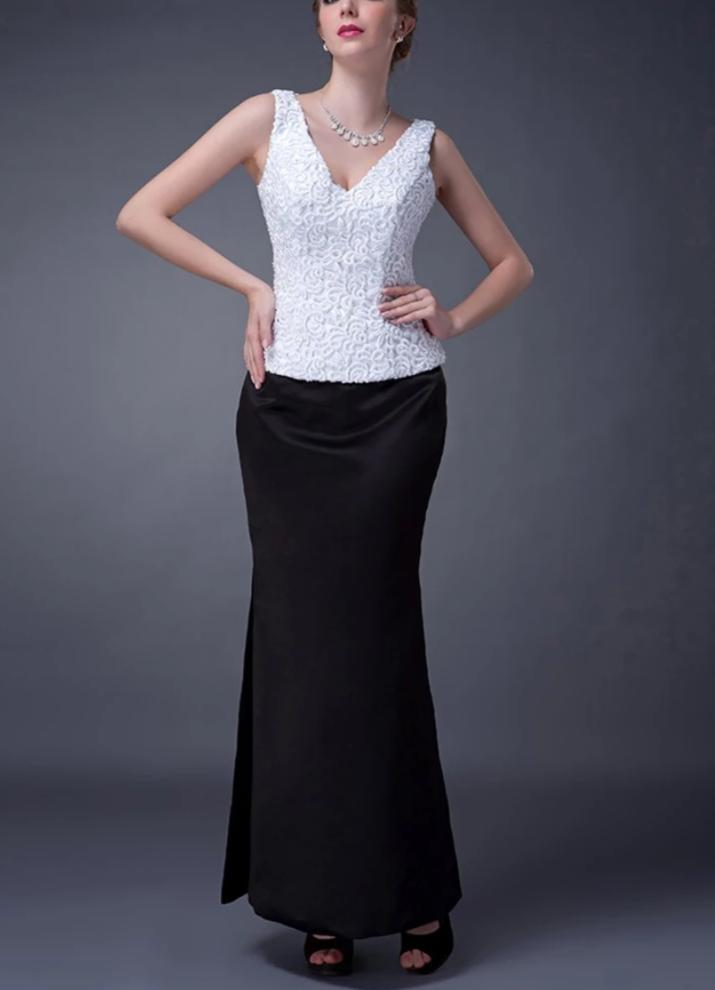 White Black 2020 Mother Of The Bride Dresses Mermaid V-neck Satin Lace Plus Size Long Elegant Groom Mother Dresses Wedding
