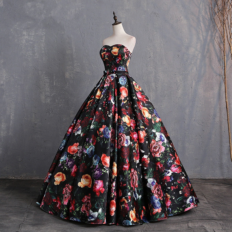 Elegant Sweetheart Floral Prom Dress Print Pattern Satin Floor Length Dresses Women Plus Size Ball Gown Evening Dress