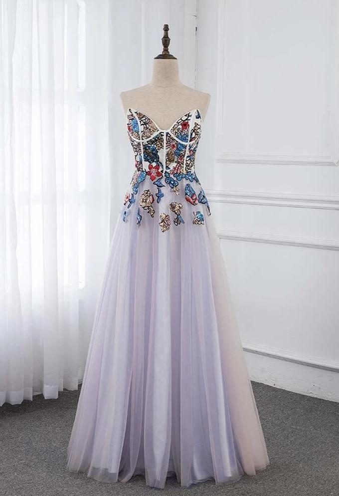 Colorful Sequins Long Evening Dresses Sweetheart Tulle Formal Evening Gown Robe De Soiree