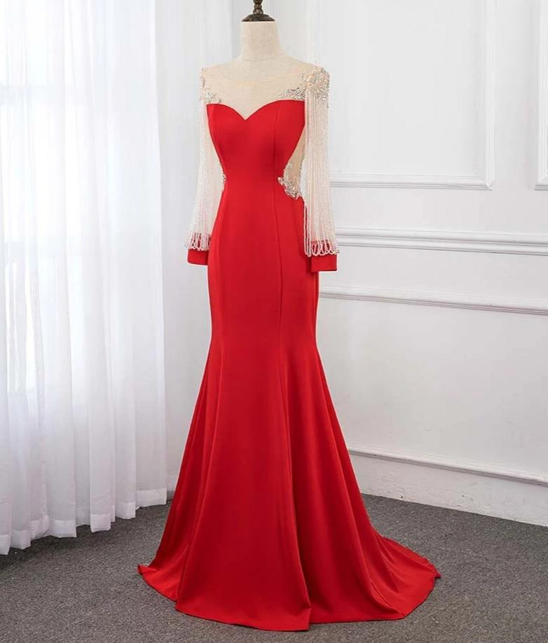 Red Long Sleeve Beading Evening Dress Crystals Evening Gown Dresses Mermaid 2019