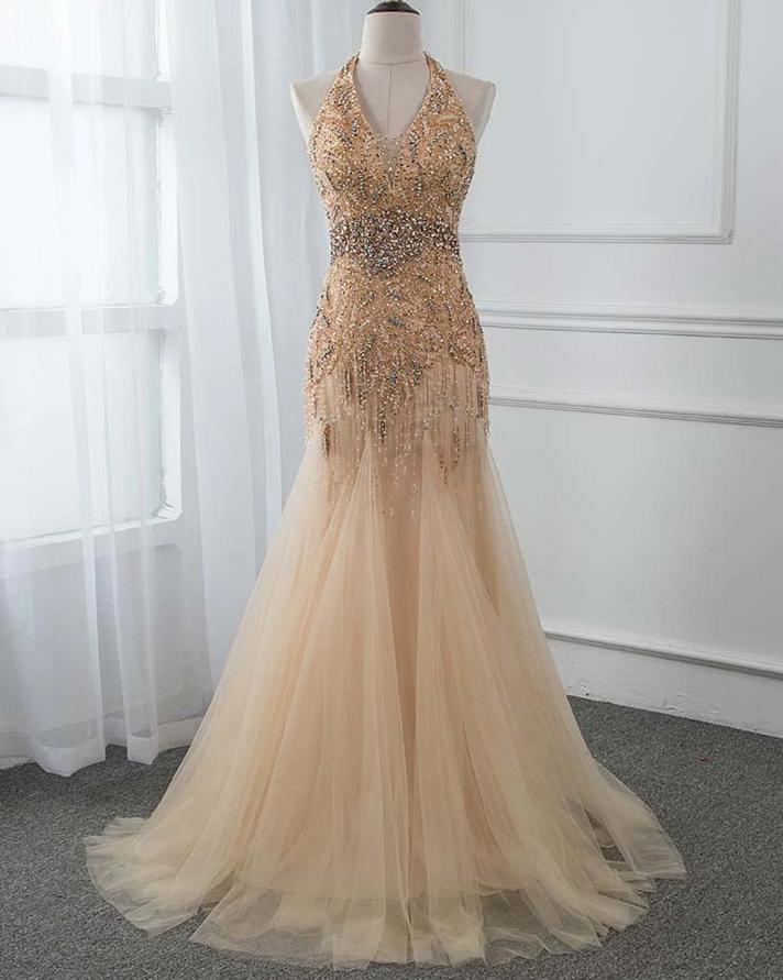 2020 Halter Golden Long Rhinestones Evening Dress Trumpet Backless Prom Gown Vestido De Festa Pageant Dresses