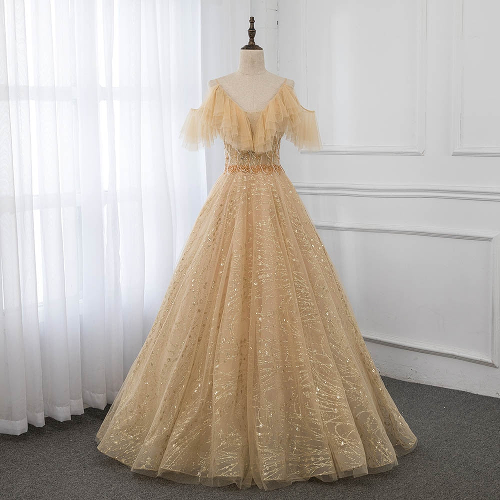 Gold Ball Gown Evening Dresses Long Sexy Straps Crystals Tulle Evening Gown Formal Dress