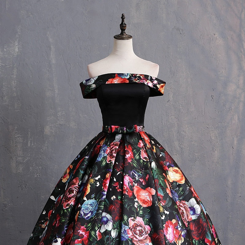 Charming Ball Gown Floral Prom Dress Off Shoulder Print Pattern Satin Floor Length Dresses Women Plus Size Prom Gowns