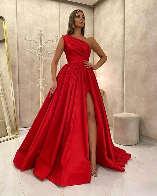 One Shoulder High Slit Prom Dresses 2021 Satin A Line Sweep Train Formal Dress Custom Evening Party Gowns