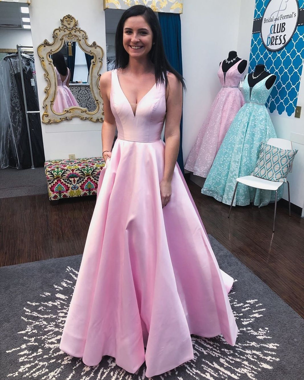 Elegant V Neck Prom Party Gowns Evening Dresses With Pockets 2020 Long robe de soiree Formal Dresses Woman Party Night vestido