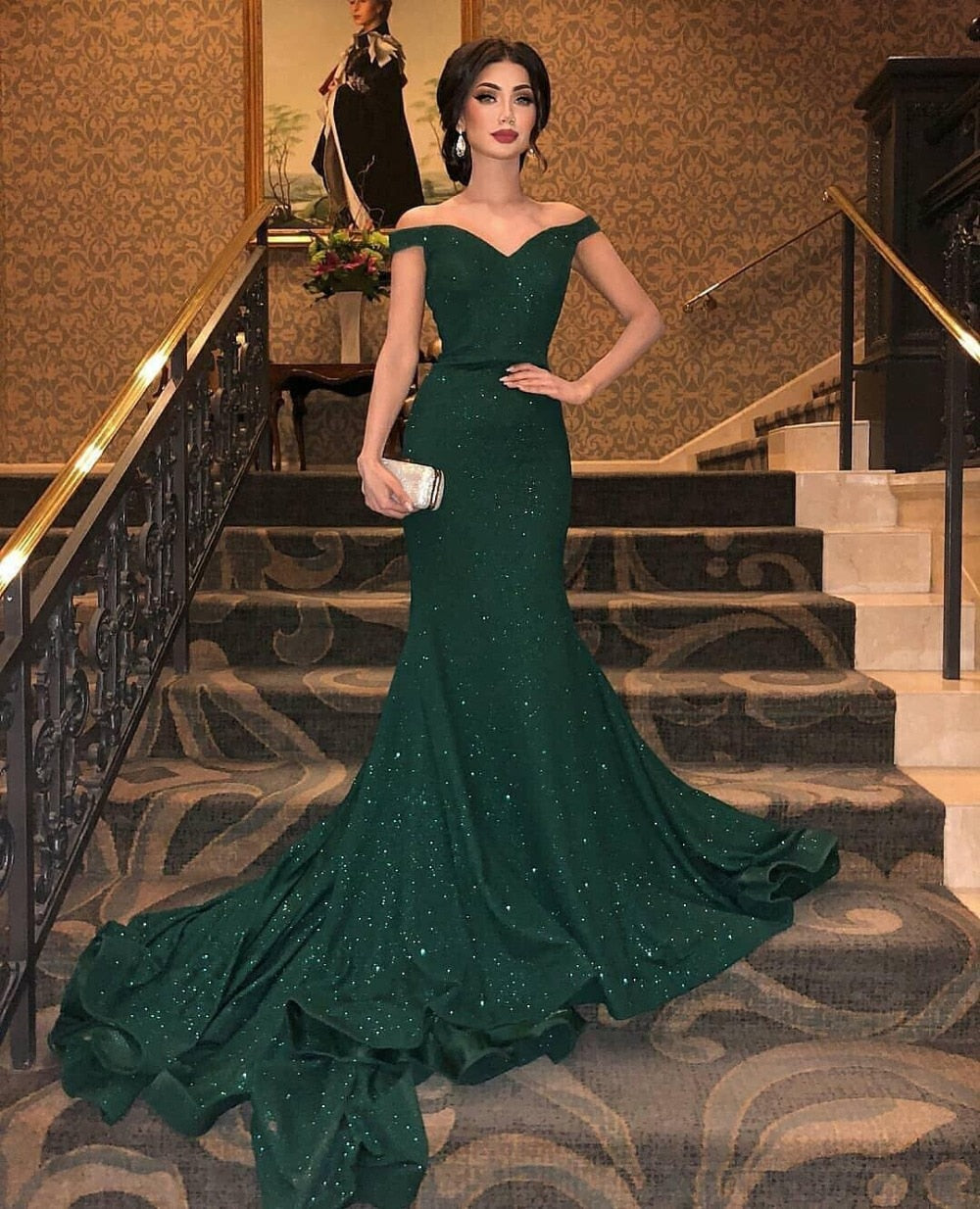 Dark Green Evening Dress Long Off The Shoulder Court Train Floor Length Formal Party Dresses