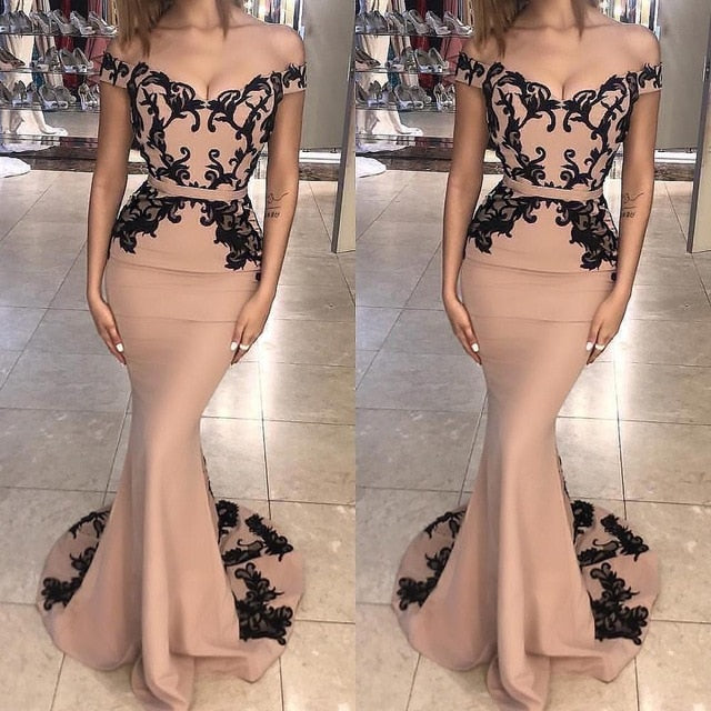 Champagne Black Mermaid Evening Dress Lace Appliques Off The Shoulder Floor Length Evening Dresses Long Formal Party Gowns