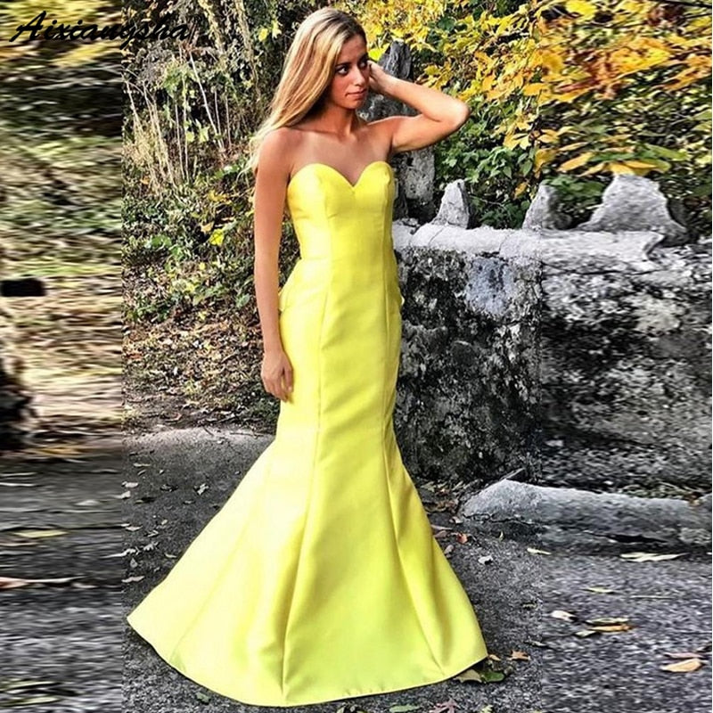 Sey Yellow Prom Dresses Long Mermaid African Sweetheart Sweep Train Satin Evening Gown robe de soiree