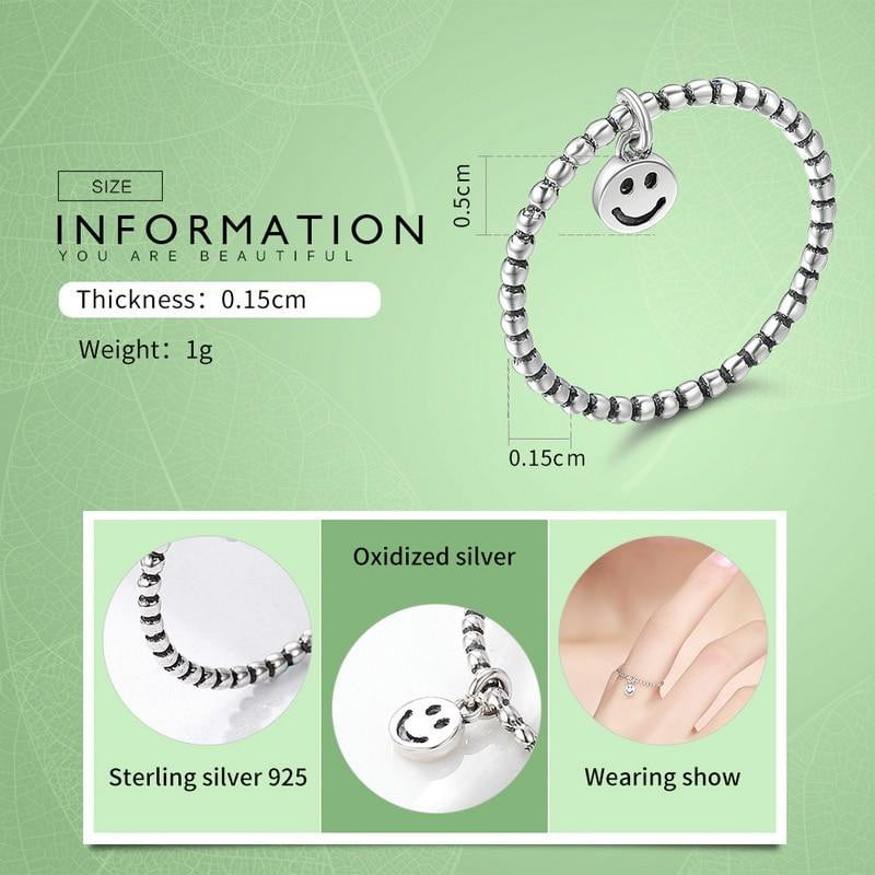 Hot Sale 100% 925 Sterling Silver Lovely Smile Face Dangle Finger Rings for Women Sterling Silver Jewelry Gift SCR147