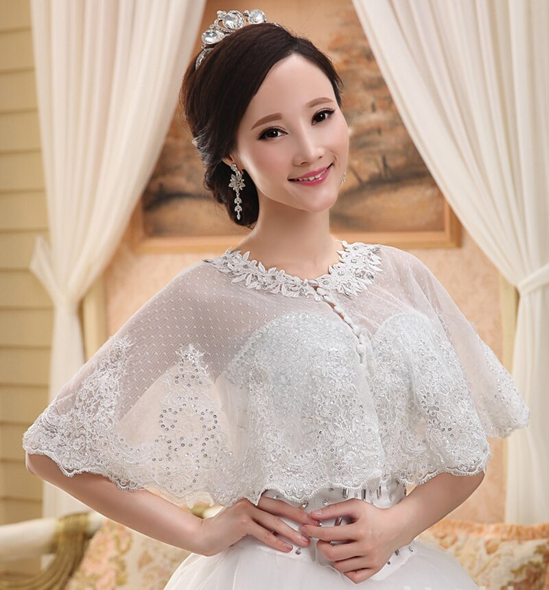 New Lace Bridal Boleros Thin Sequins sleeveless Women Ladies Wedding Jackets Plus Size Wraps For Wedding Party