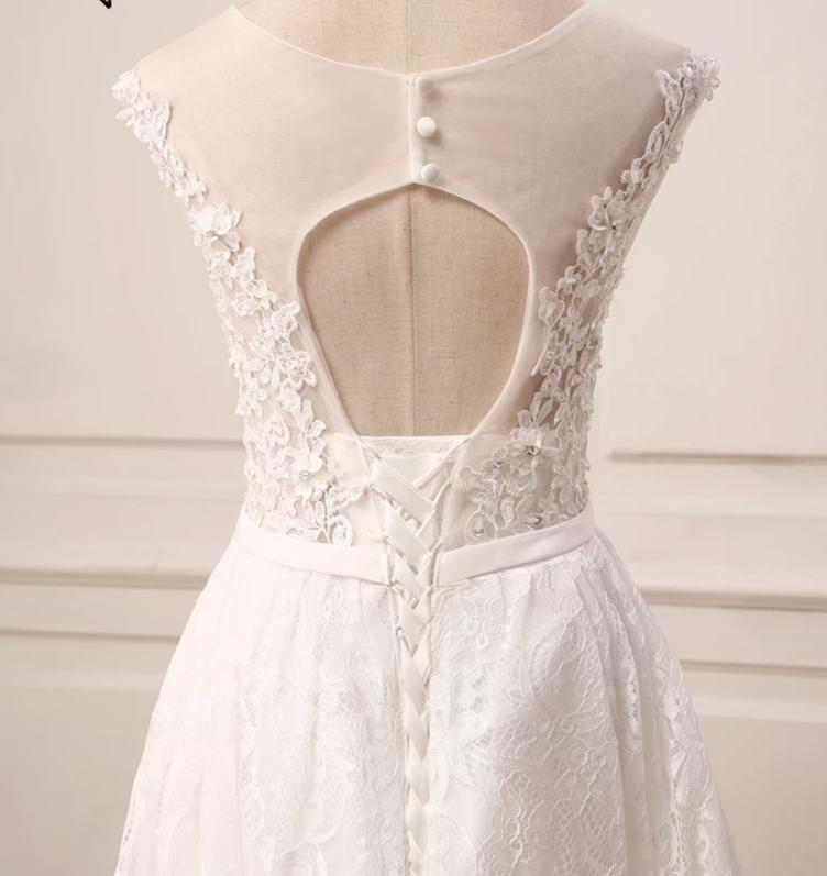 Cheap Ivory Wedding Dress Cap Sleeve Applique Beaded Lace Hi-Lo Wedding Gowns Bride dresses New Arrival