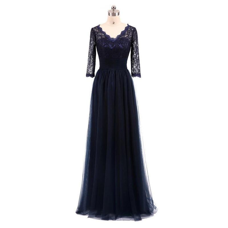 Elegant Plus Size Nave Blue Mother Of The Bride Dresses A-line Tulle Lace Wedding Party Dress Mother Dresses