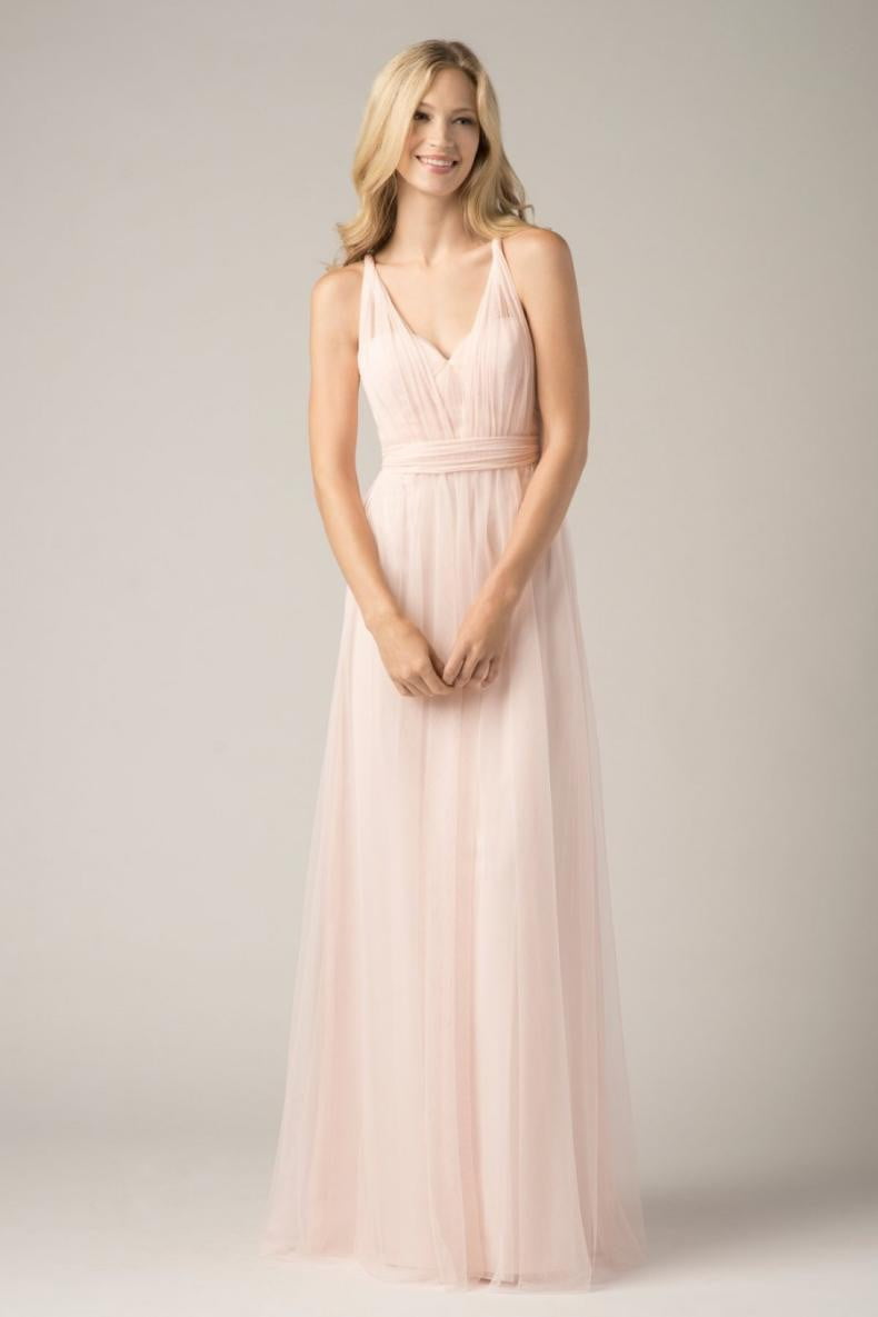 Blush Pink V Neck long Bridesmaid Dresses 2019 A-Line Cap Sleeve tulle Formal Party Prom Dresses plus size maxi 2-26w