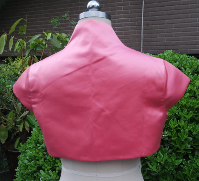 Custom Made Women Jacket Wedding Satin Jackets Short Sleeve Bridal Bolero Shrug / Shawl