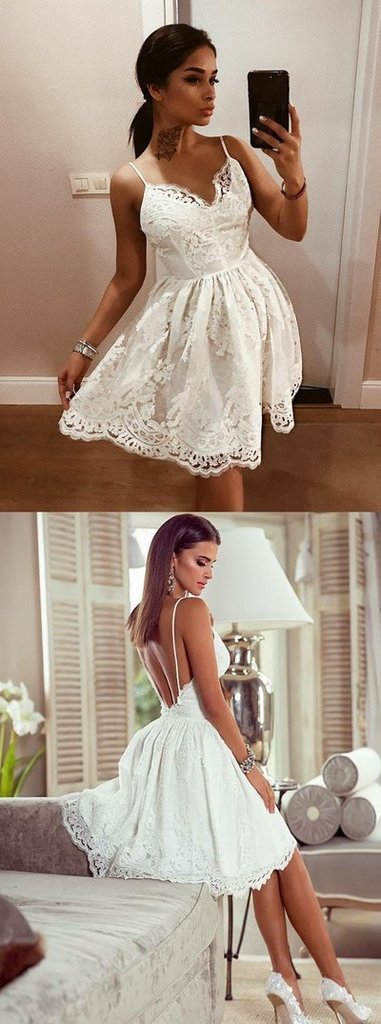 Ivory A-Line Princess Cocktail Dresses Backless Sleeveless Sweetheart Appliques Fashion Mini Homecoming Dresses with Appliques Lace 2019